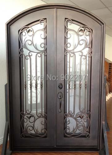 "Custom design 61.5"" x 96"" Eyebrow Arch Top Wrought Iron Entry Double Door Unit(China (Mainland))"