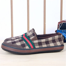 Korean new canvas shoes trend chequer slip-on casual men shoes espadrilles zapatos hombre loafer
