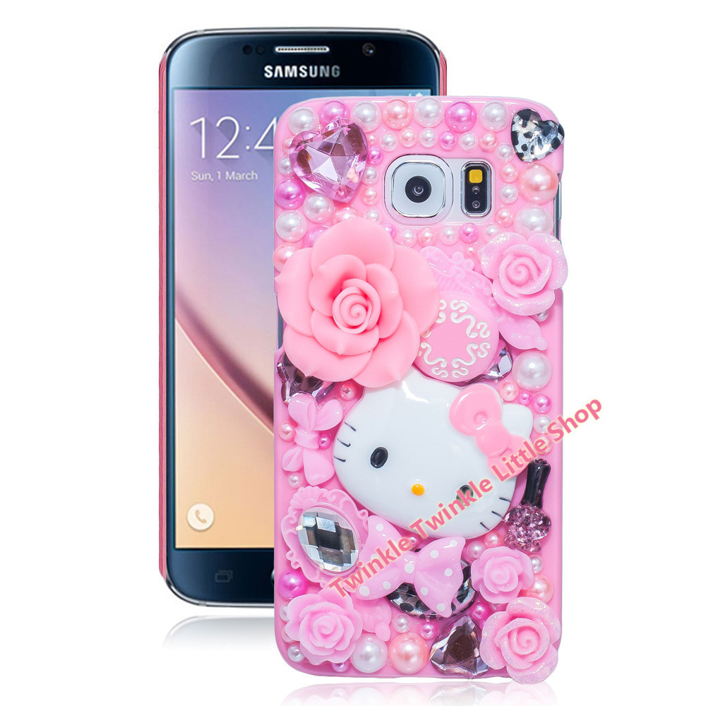 New Hot Cute Hello Kitty Case Crystal Plastic Case For Samsung Galaxy S6 edge Phone Cases Accessories Protector S6 edge Case(China (Mainland))