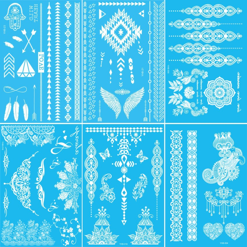 100pc White Flash Temporary Tattoos Henna Sticker Cool Designs Sexy Products Fashion Lace body art fit women dress daily life(China (Mainland))