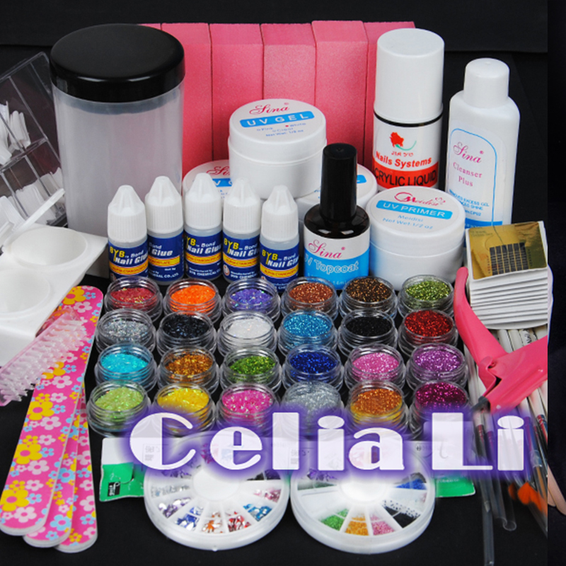 7- Days delivery USA Dispatch UV GEL Polish Glitter Primer nail brush clear Nail art kit set 005(China (Mainland))