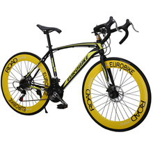 21 Speed  Disc Brake 700C Suspension Mountain Road Bike Variable Speed Racing Bicycle - Black + Yellow(China (Mainland))
