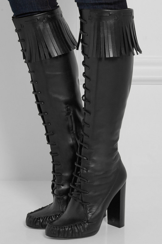 Autumn Boots Black Knee High Boots Fringle Gladiator Women Boots Pointed Toe Fashion Lace up Tassel Motorcycle Boots <br><br>Aliexpress