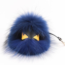 Real fur monster keyrings charms karlito keychain Fluffy perfect personality backpack Pompom pendant(China (Mainland))