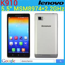 Original Lenovo Vibe Z K910 5.5 inch FHD Snapdragon 800 Quad Core 2.2GHz 5.5  Dual SIM GPS WCDMA Five-Band 13.0MP Camera