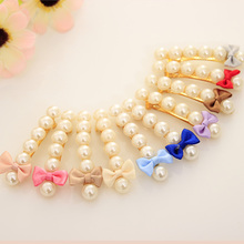 Six Simulated Pearl Beautiful Cute Tiny Bow Barrettes Gold Plated Hair Clips for Women Headwear Hair Accessories