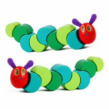 Cute Insects Twist the Very Hungry Caterpillars Children Anime Toys Wooden Blocks Baby Fingers Flexible Blocks Montessori P135