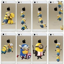 Super Hot Minions Design For iphone 5 5S  Case Hard Transparent Cover For iphone5 5S