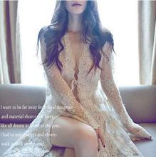 Europe and  United States court sexy delicate with the long lace cardigan pajamas transparent photo robe nightgown lady's dress(China (Mainland))