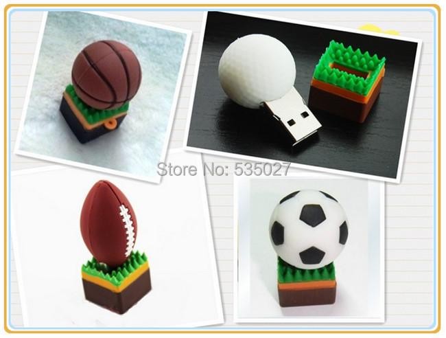 10pcs/lot pendrives Plastic football/basketball/rugby/golf ball Cartoon USB Flash 2.0 Memory Drive Sticks U disk Pen Drive(China (Mainland))