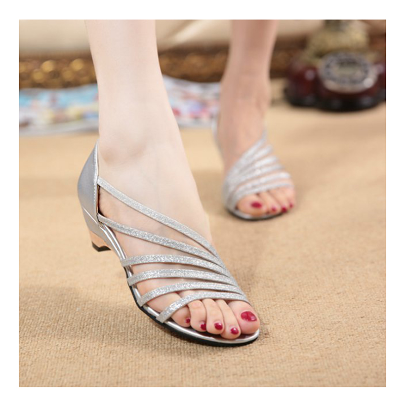 Fashion Hot Women Sandals 2016 Gril Summer High Heel Sandals High Quality Gold Sliver Ankle-Wrap Women Sandals <br><br>Aliexpress