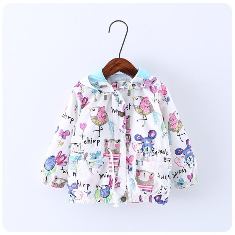2016 New Summer Cute Baby Girl Coat Print Cartoon Graffiti Hooded Zipper Girl Jacket Full Sleeve Toddler Girl Outerwear(China (Mainland))