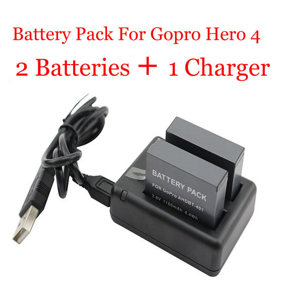 2pcs 1160mAh Battery AHDBT-401 For Gopro Hero 4 And Dual Port Home Charger For Gopro Hero4 Hd Camera Rechargeable Li-ion Polymer(China (Mainland))
