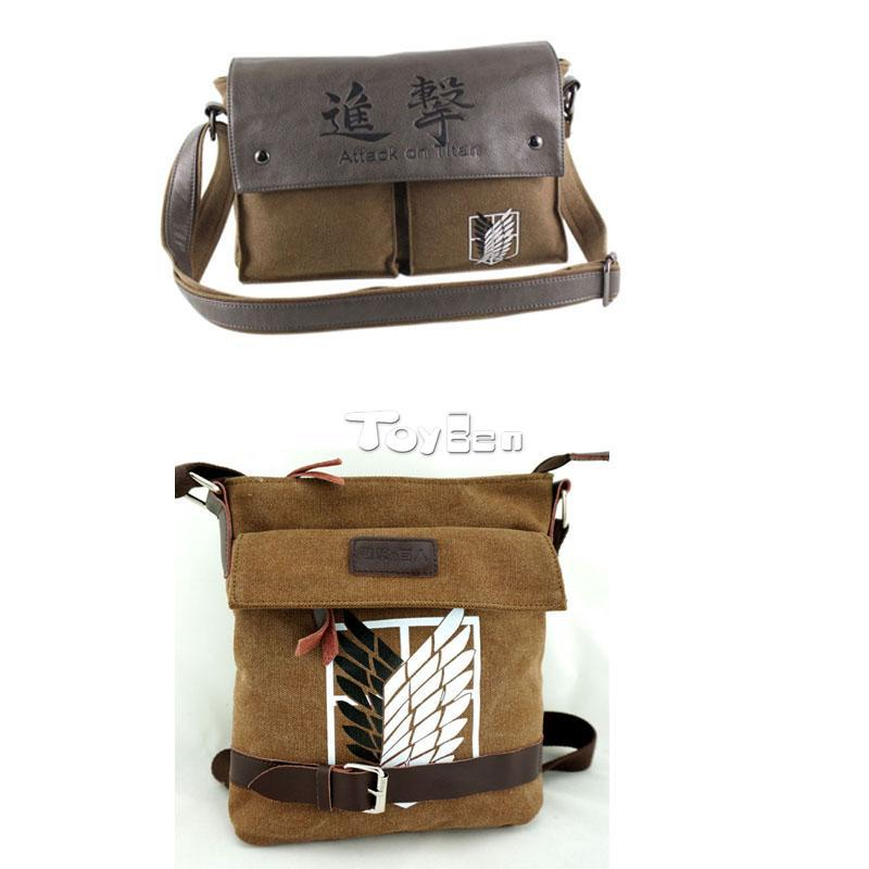 HOT Anime Attack on Titan School Bag Canvas Rucksack Book Messenger Bag Laptop Bag Cosplay(China (Mainland))