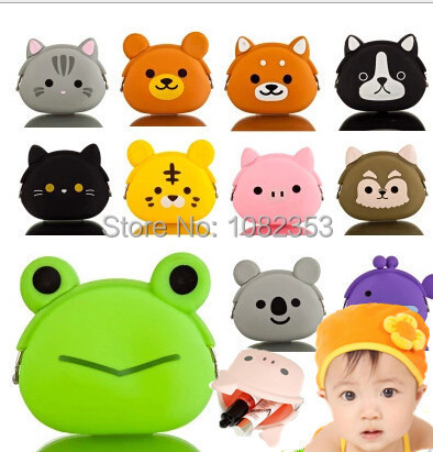 2015 new silicone cartoon baby coin purse dog cat bear panda duck owl frog styles many color candy lady wallets girls wallets(China (Mainland))