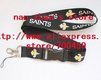 New Lot 120pcs SAINTS team sport Lanyard for MP3/4 cell phone/ key /Neck Strap Lanyard WHOLESALE Free shipping