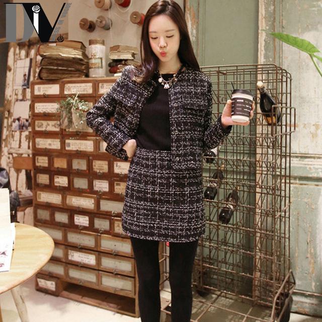 Div тонкий элегантный свободного покроя для женщин высокое качество твидовый пиджак ...