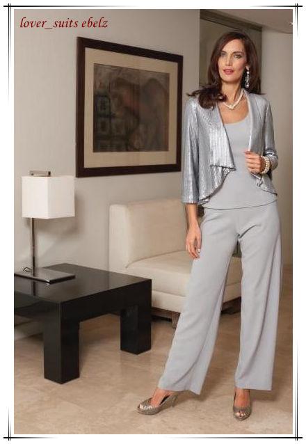 3-piece Autumn Silver Casual Wear Vintage Slim Fit Pant Suits for Women Jacket Business Dress Solid Work Career Female Suit