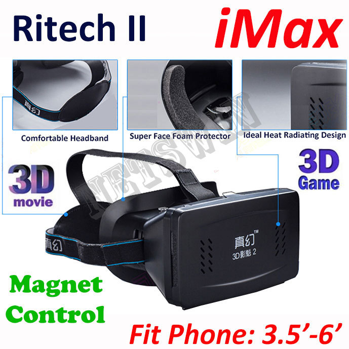 RITECH II Head Mount Plastic Version 3D VR Virtual Reality Glasses Google Cardboard 3D Movies 3D Games(China (Mainland))