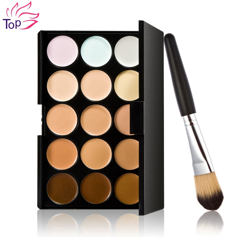 15 Colors Neutral Palette Scar Cream Face Concealer Camouflage Maquiagem Tools + Foundation Brushes Makeup Set<br><br>Aliexpress