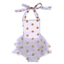 Kaiya Angel  Lovely New White Cotton Dot Baby Bib Pans In Boys Summer Bloomer Children Clothing Girls Infant Jumpsuit 0-2 Year(China (Mainland))