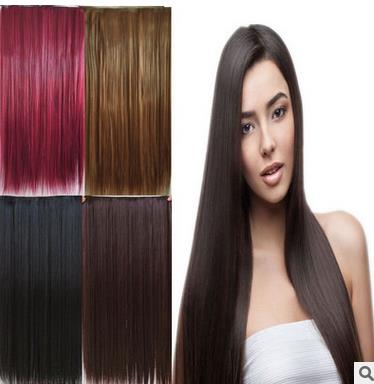 55cmNew arrival femalehot sale straight burgundy clip in hair extension permed suitable for dying color cheap price freeshipping(China (Mainland))