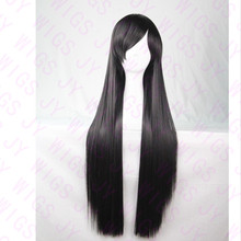 Long Black Wig Cosplay 100CM Straight Wig Women Hair Side Bangs Party Wigs Long Black Wig(China (Mainland))