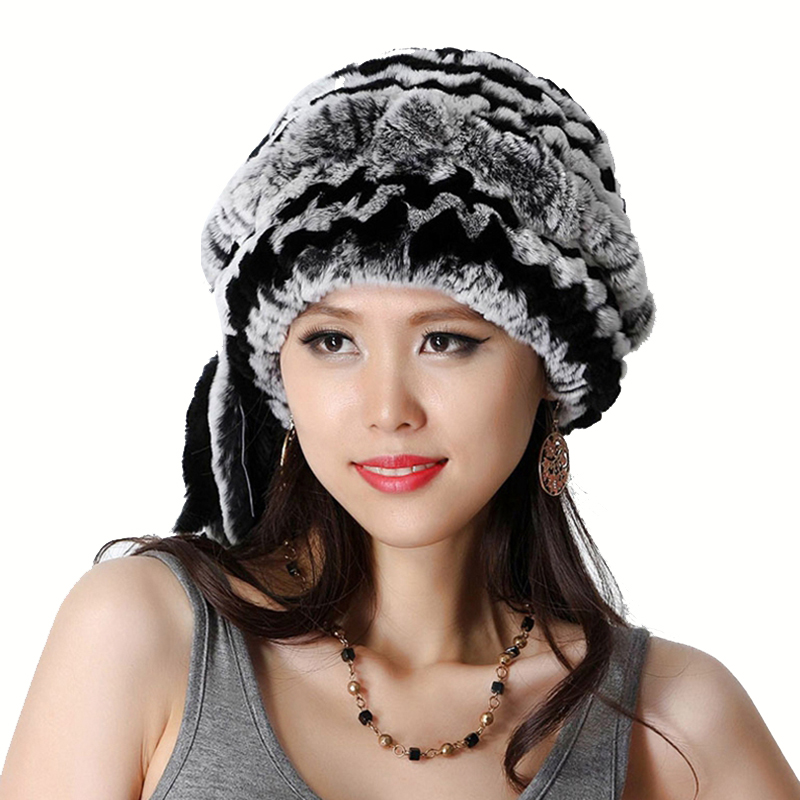 Handmade Winter Ladies' Real Natural Rex Rabbit Fur Skullies Beanies Hats Women Fur Warm Hats Caps VF0483(China (Mainland))