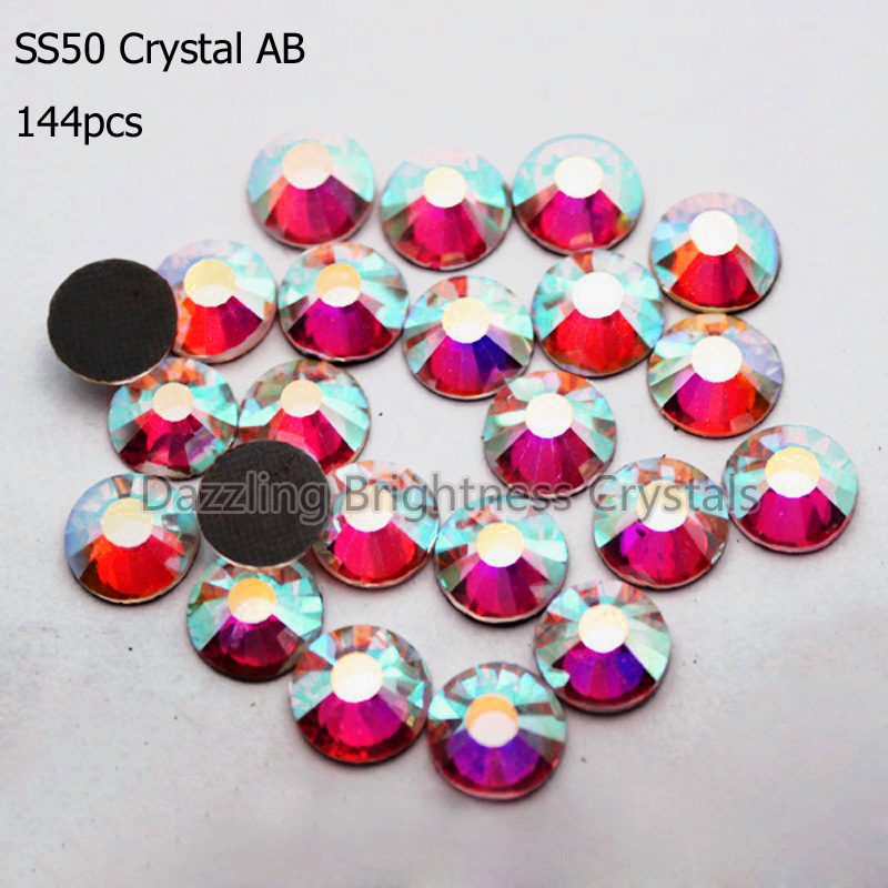 Heat Transfer Strass Crystal 12mm SS50 Clear AB 2mm 1440pcs Glitters Glass Stones DMC Rhinestones For Clothing(China (Mainland))