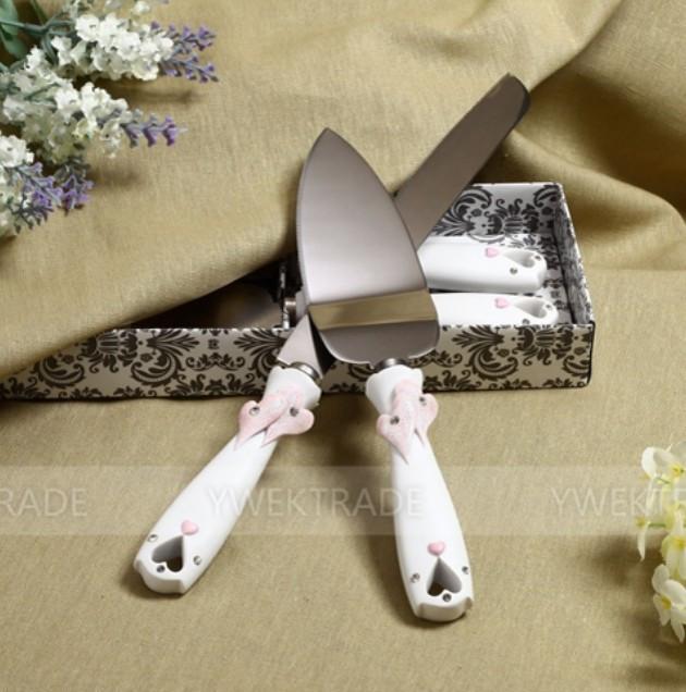 Buy 1 set Hollow 3D Heart design Cake Knife + shovel + gift box Serving Set Wedding Decoration Supplies cheap