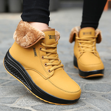 2016 Artificial Fur Ankle Boots Fashion Ladies Lace-Up Ankle Swing Wedges Boot Warm Winter Boots High Heels Platform Shoes Woman(China (Mainland))