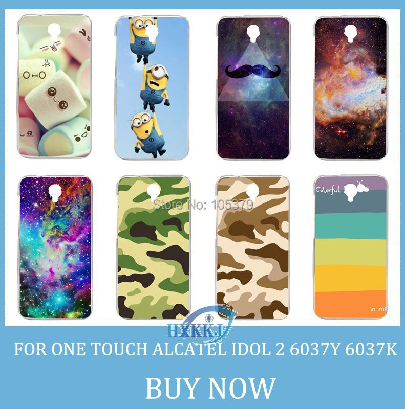 For Alcatel One Touch Idol 2 6037Y 6037k 6037 Case Girl Leopard Skull Cat Fish Lotus Flower Rainbow Hard Cell Phone Case(China (Mainland))