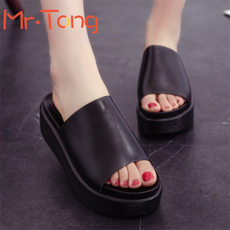 2016 New Summer High Quality PU Leather Sandals Women Platform Sandals Home Shoes Ladies Wedges Platform Shoes Comfort in Korea(China (Mainland))