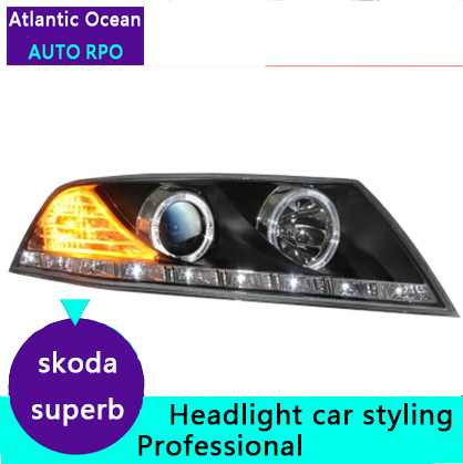AUTO PRO 2007 08 09 skoda superb headlights skoda superb U LED light guide Angel eyes DRL car styling xenon HID Kit parking(China (Mainland))