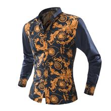 New Brand Dress Men Shirt Long Sleeve Cotton Male Business Casual Printed Fashion Formal Shirts Slim Masculina Camisa(China (Mainland))