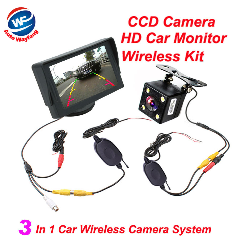 Wireless Car Parking Assistance Video Monitors , 3 in 1 Wireless Car Rear View Camera Monitor System 2.4Ghz Wireless Camera Kit(China (Mainland))