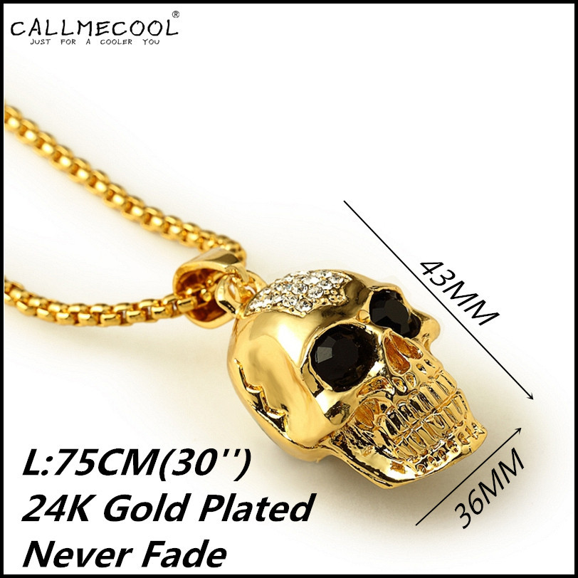 2015 Fashion 24K Gold Plated Skull Head Necklace Skull Pendant Rhinestone Popcorn Chain bar hip hop jewelry for men women gift(China (Mainland))
