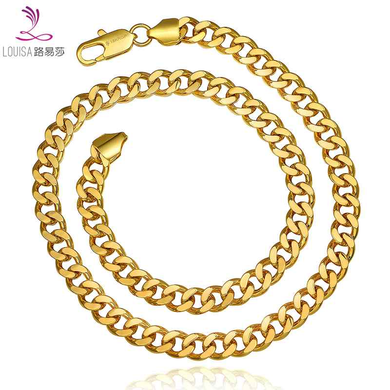 2016 New Fashion Men Jewelry 8mm Wide 18K Gold filled Long Chain Necklace For Men Wholesale Gold/Rose Gold Color Free Shipping(China (Mainland))