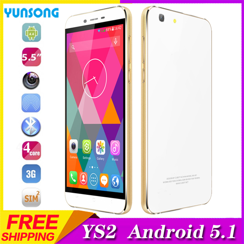 YUNSONG YS2 5.5inch Smartphone Android5.1 telephone MTK6580 Quad Core Cell Phone Dual Sim 3G 2G 5MP Camera unlocked Mobile Phone(China (Mainland))