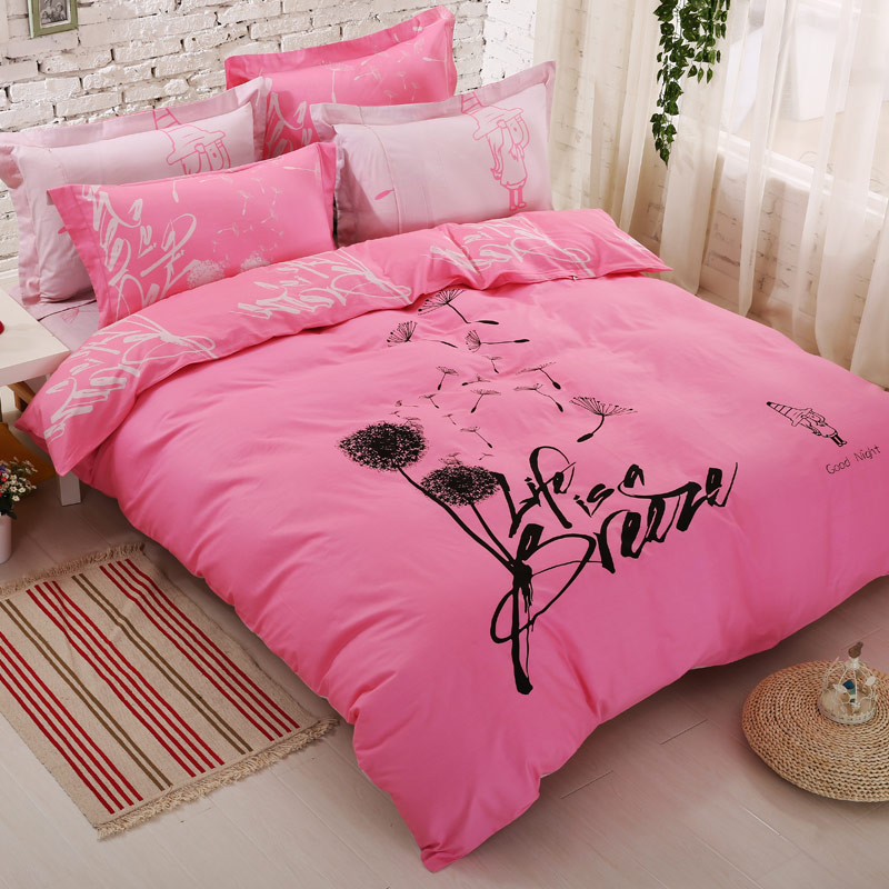 Фотография pink comforter sets white and black dandelion floral luxury duvet covers modern fashion girls and boys bedding sets