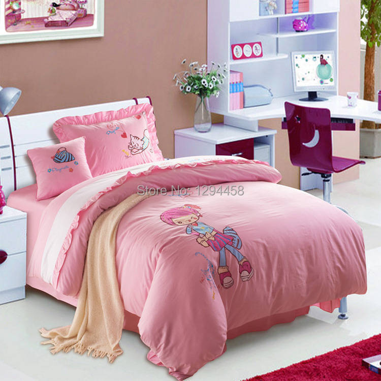 Patch embroidered bedding set 4pcs children cartoon bedclothes twin full size bed linen fashion - Twin size princess bed set ...