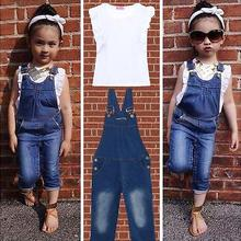 New New Baby Girls Clothing Set White Top T-Shirt Denim Jeans Bib 2Pcs/Suit Wholesale Hot Sale
