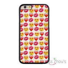 For iphone 4/4s 5/5s 5c SE 6/6s plus ipod touch 4/5/6 back skins mobile cellphone cases cover Red Lip Love Emoji Heart