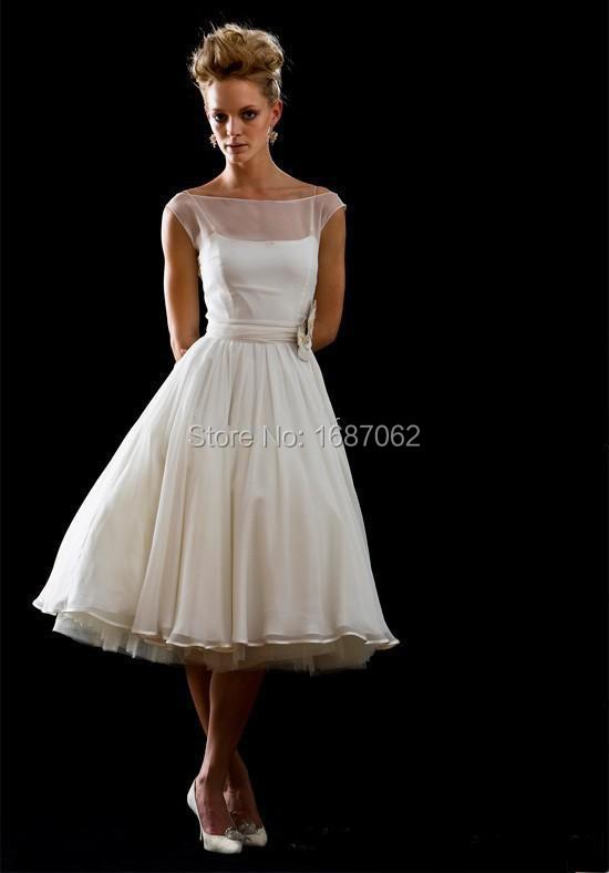 2014 new designer custom made a line bateau tea length for A line tea length wedding dress