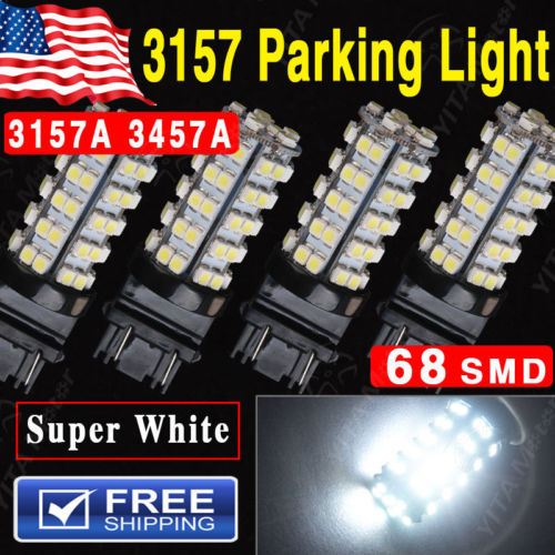Free Shipping led car Lights 4Pcs Xenon White Led Parking Light 3157 68 SMD LED Light bulb 3157A 3457A 4157NA External Led Lamps(China (Mainland))
