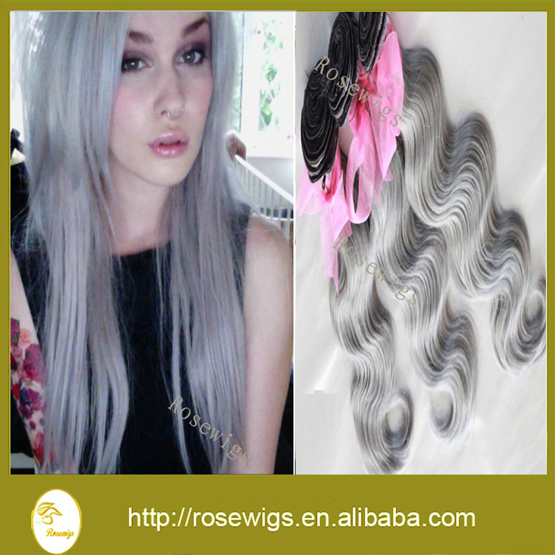 7A Rosewigs Virgin Hair Weaves 3pcs lot Brazilian Pure Grey human hair Body Wave All Silver Remy Hair Extensions Wholesale(China (Mainland))