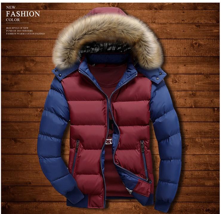 New Men Coats 2016 Winter Jacket Warm Casual Fur Collar Down Coat Winter Windproof Hooded Men Outwear Parkas Plus Size M-4XL