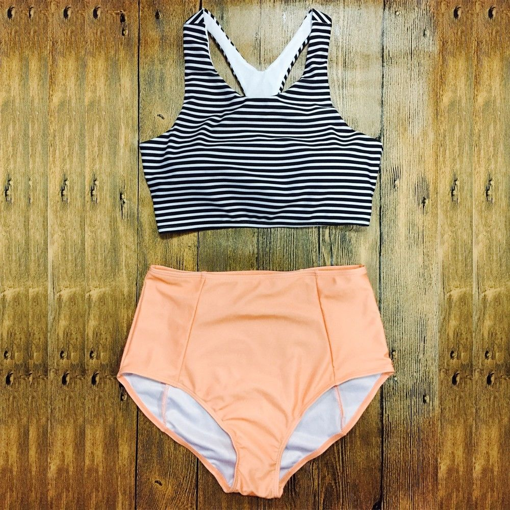 2016 Padded Swimwear Bikini Set Stripes Swimsuit High Waist Bathing Suit Orange Swimsuit Fashion Beach Wear Suit(China (Mainland))
