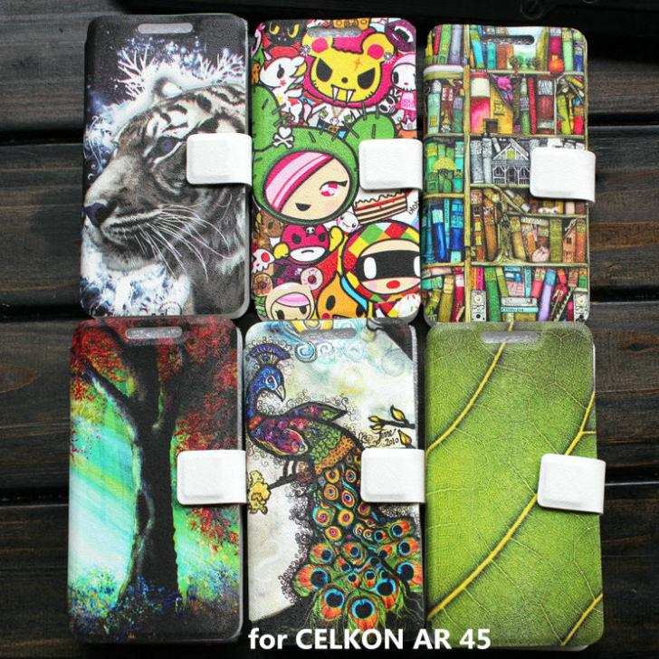PU leather cover case for CELKON AR 45 case gift(China (Mainland))