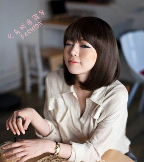Brand New Fashion Cheap Heat Resistant Synthetic Hair Black Short Straight Bob Wig Bangs Afro Women - H&C Store store